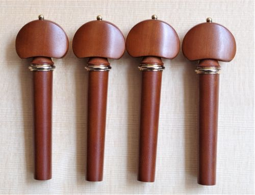 SET PIROLI VIOLINO MODELLO HILL BOSSO ANELLO ORO - SET VIOLIN PEGS HILL MODEL BOXWOOD GOLD COLLAR