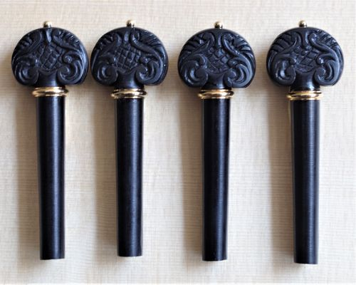 SET PIROLI VIOLINO SCOLPITI A MANO EBANO ANELLO ORO - SET VIOLIN PEGS HAND CARVING EBONY GOLD COLLAR