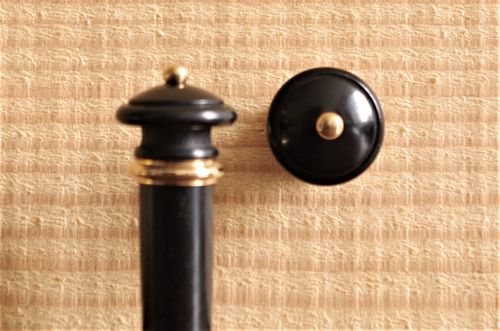 BOTTONE PER VIOLINO EBANO ANELLO E PALLINO ORO - VIOLIN END BUTTON EBONY GOLD COLLAR