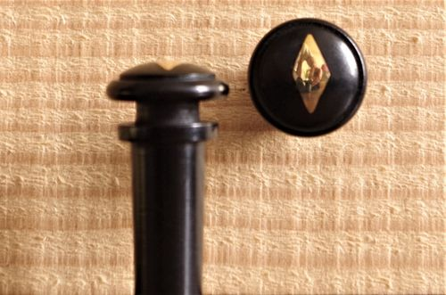 BOTTONE VIOLINO EBANO LOSANGA ORO - VIOLIN END BUTTON EBONY GOLD DIAMOND INLAY